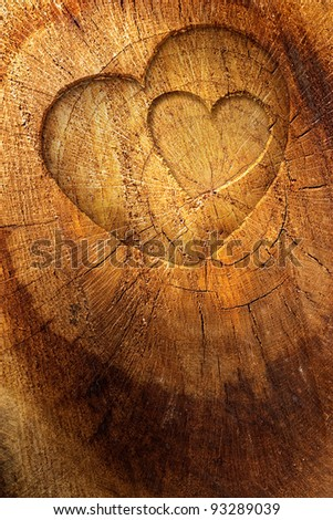 Valentine's day concept background with copyspace.  Love text on  wooden background - stock photo