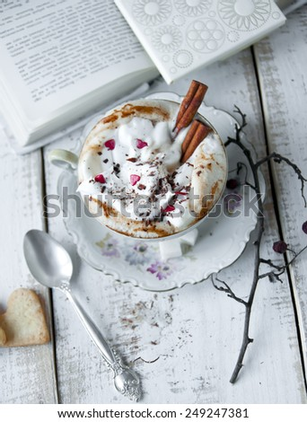 Valentine's day cup of Cappuccino Coffee. Love concept  - stock photo