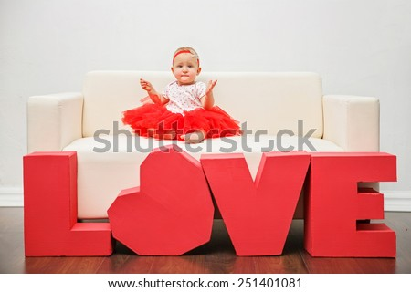 Valentine's Day -  cute child. Series of photos - stock photo
