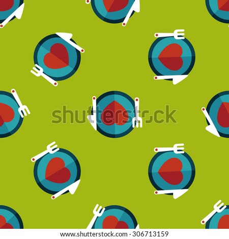 Valentine's Day flat icon, seamless pattern background - stock photo