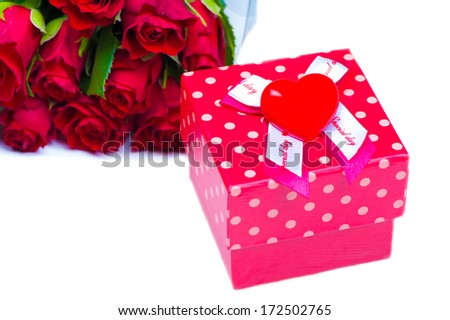 Valentine's Day Gift and Roses on White background