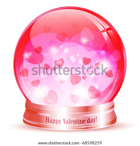 Valentine`s day globe with hearts and stars over white
