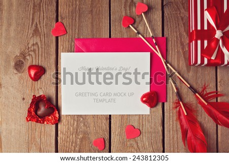 Valentine's Day greeting card mock up template - stock photo