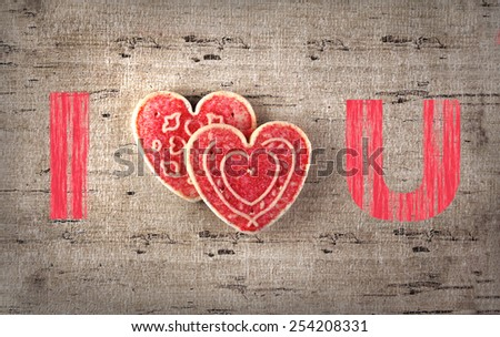 Valentine's day greeting card with cookie - stock photo