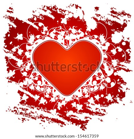 Valentine's Day greeting card with flowers and heart on grunge background