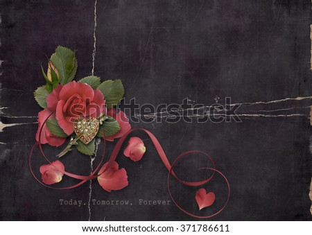 Valentine's Day. Grunge card with roses and heart - stock photo