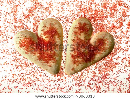 Valentine's day heart shaped cookies