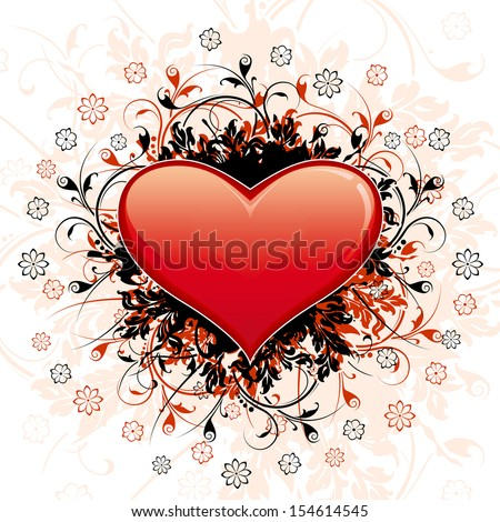 Valentine's Day Heart with floral decoration and flowers