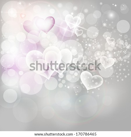 Valentine's Day Hearts, Silver Lights And Stars  - stock photo