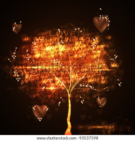 Valentine's day illustration, abstract tree in the hearts background - stock photo