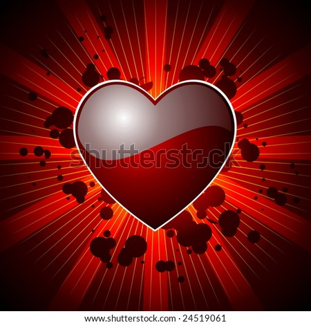 Valentine's day illustration with glossy red heart with four colour variation. (JPG) - stock photo