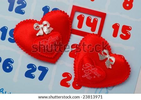Valentine's Day in calendar - stock photo