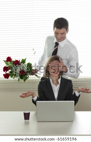 Valentine's day in the office - also Birthday or Anniversary - stock photo