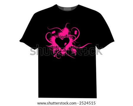 Valentine's day jpg image with ink splats and vines on a T-shirt. Funky and retro image. - stock photo