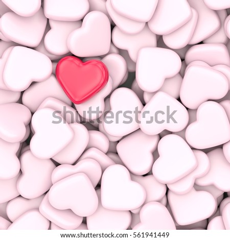 Valentine's Day, love and relationship concept. Red and pink heart shapes background. 3D illustration