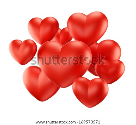 Valentine's Day, love and relationship illustration. Group of red heart shapes isolated on white background. - stock photo