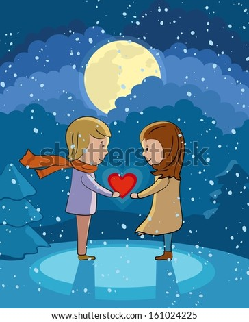 Valentine's Day love card. Under the moonlight - stock photo