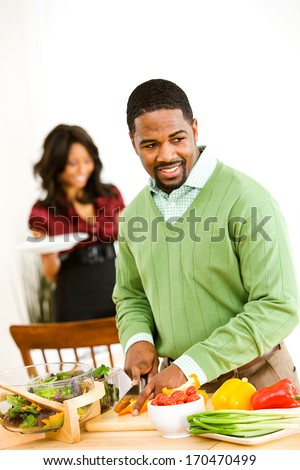 Valentine's Day: Man Doing Dinner Prep Work.