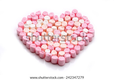 valentine's day marshmallows - stock photo