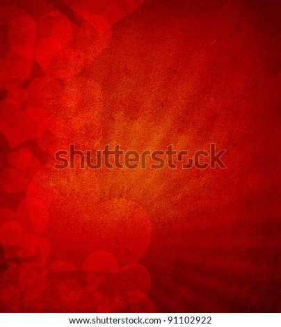 Valentine's day or Wedding background with hearts - stock photo