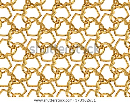 Valentine's day pattern with seamless golden jewelry hearts isolated on black background. 3d render repeating texture - stock photo