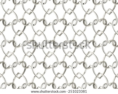 Valentine's day pattern with seamless silver jewelry hearts isolated on white background. 3d render repeating texture  - stock photo