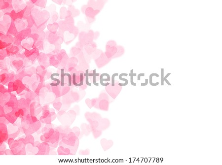 Valentine's day pink hearts grunge bokeh background with copy space - stock photo