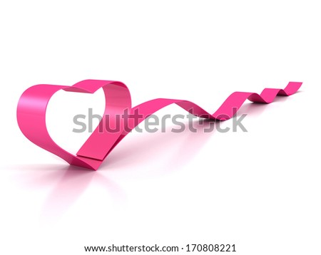 Valentine's Day pink satin glossy ribbon heart on white - stock photo