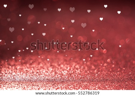 Valentine's Day red glitter background, hearts