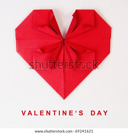 Valentine's Day Red Heart on Grey Paper Origami Card - stock photo