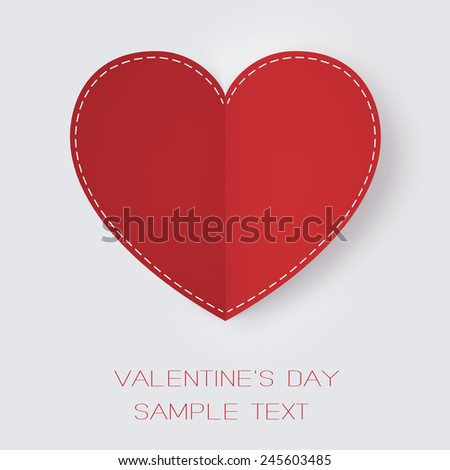 Valentine's Day. Red paper heart on a clear white background. High Resolution 3d - stock photo