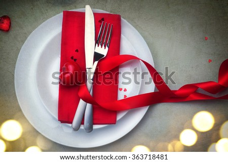 Valentines Day Romantic Dinner Table Setting Stock Photo Royalty