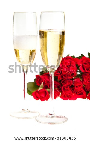 Valentine's day roses and champagne wine isolated on white - stock photo