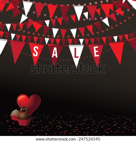 Valentine's Day sale background with festive flags and party lights Royalty free stock illustration Perfect for greeting card, advertising, flyer, poster, blog, website - stock photo