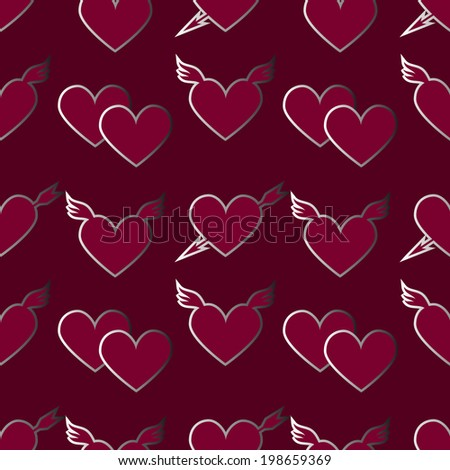 Valentine's day seamless pattern with hearts. Holiday background. Endless print texture. Abstract repeating background. Fabric design. Wallpaper - raster version - stock photo