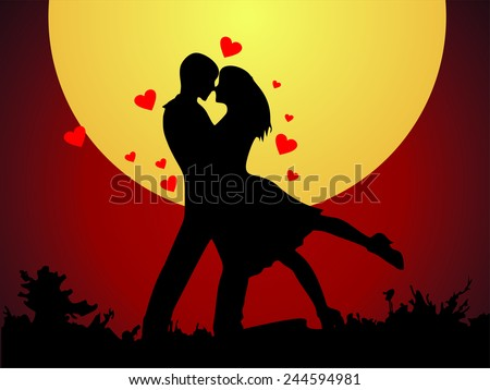 valentine's day (silhouette of lovers) - stock photo