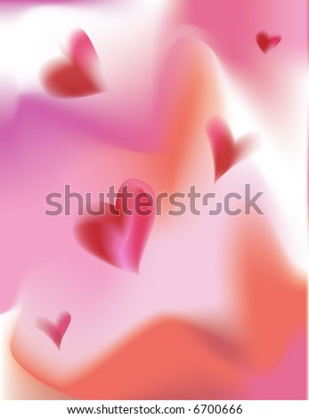 Valentine's Day, Swirling Hearts Abstract Background - stock photo