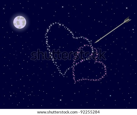 Valentine's day. The night sky with two hearts of stars and an arrow. Raster version. - stock photo