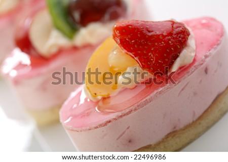 Valentine's day theme - Cake with fresh fruits - stock photo