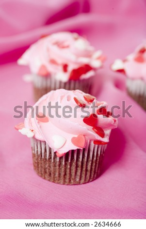 Valentine's Day themed cupcakes with heart sprinkles