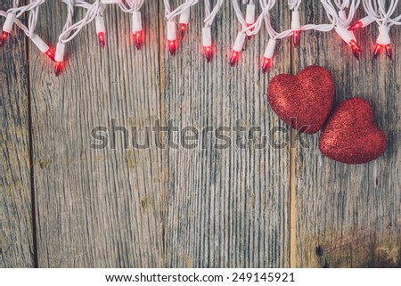 Valentine's Day Top Down Background Blurred with Hearts and Lights