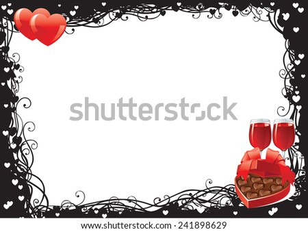 Valentine's day. Two wineglasses with Red wine  and heart shaped box of chocolates candy on ornate border - stock photo
