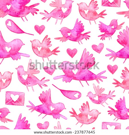 Valentine's day watercolor seamless pattern with birds, envelopes, hearts and feathers silhouettes. Adorable watercolor Valentine's Day seamless pattern. - stock photo