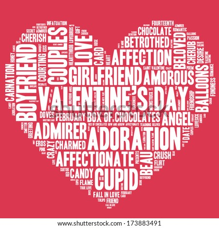 Valentine's Day word cloud concept including terms such as love, romance, kiss, boyfriend, girlfriend, Cupid and others in the shape of a heart, white letters on red background  - stock photo