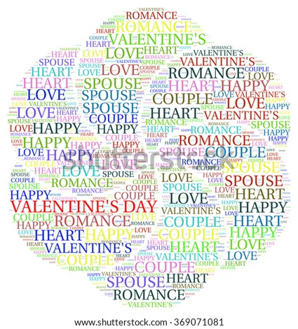 VALENTINE'S DAY. Word collage on white background. Illustration with different association terms.