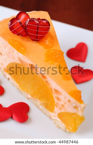 Valentine's dessert with peaches and tangerines