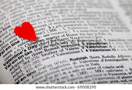 Valentine's heart on a book - stock photo