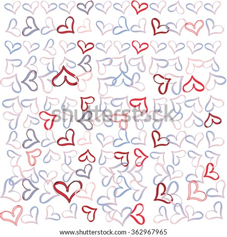 Valentine's hearts illustration in rose, blue and red - stock photo