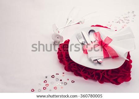 valentine's love dinner set - stock photo