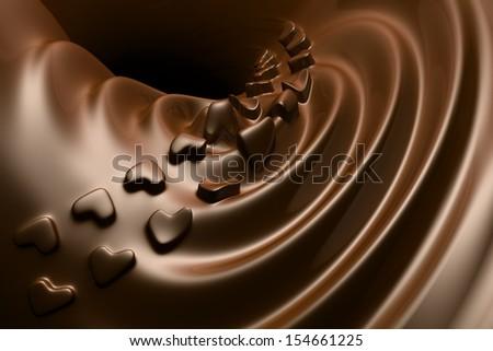 Valentine's Love shape Chocolate ripple - stock photo